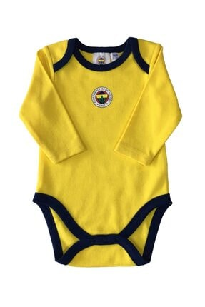 Fenerium Unisex Bebek Sarı Fenerbahçe Logolu Uzun Kollu Body