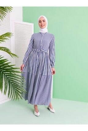 Loreen Kare Desenli Elbise - Indigo -