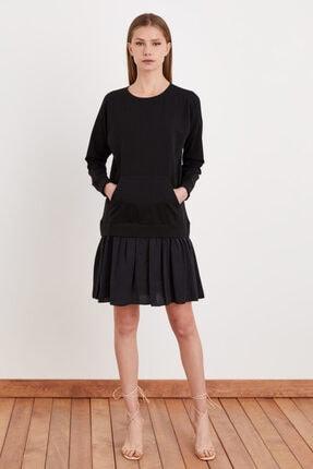 Love My Body Kadın Siyah Kontrast Garnili Sweat Elbise