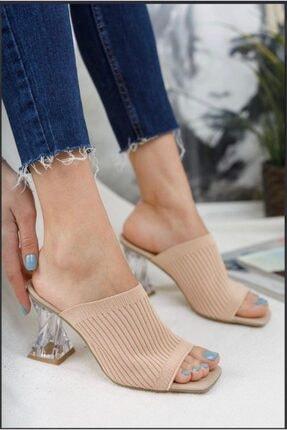 Birol Ayakkabı Kadın Pudra Şeffaf Topuklu  Triko Terlik