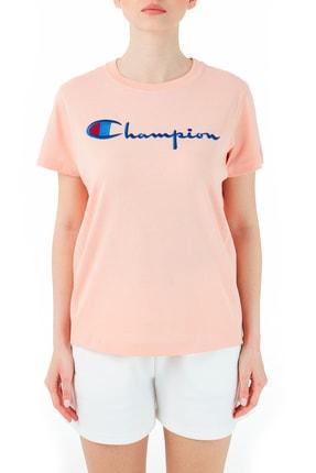 Champion Kadın Pembe Logo Baskılı Bisiklet Yaka  T-Shirt