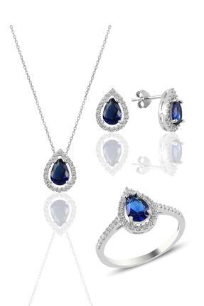 Söğütlü Silver Gümüş Rodyumlu Safir Taşlı Damla Modeli Üçlü Set