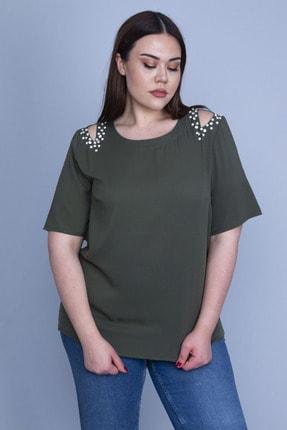 Şans Kadın Haki İnci Detaylı Krep Şifon Bluz 65N24239