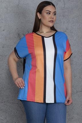 Şans Kadın Renkli V Yakalı Düşük Kollu Renk Kombinli Bluz 65N24321