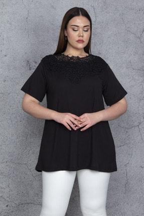 Şans Kadın Siyah Dantel Detaylı Viskon Bluz 65N24284