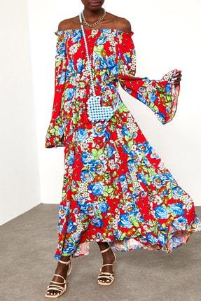 XENA Kadın Mercan Çiçek Desenli Straplez Elbise 1YZK6-11796-64