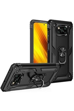 AQUA AKSESUAR Xiaomi Poco X3 Nfc Kılıf Zırhlı Standlı Mıknatıslı Lüx Kapak - Si