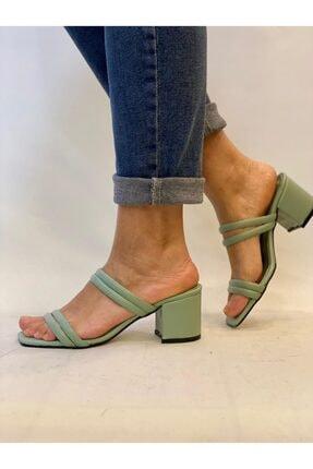 Birol Ayakkabı Kadın Su Yeşili Topuklu Terlik