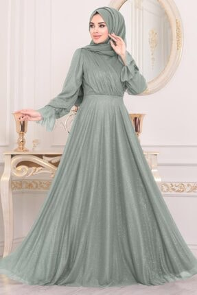 Neva Style Tesettürlü Abiye Elbiseler - Koyu Mint Tesettür Abiye Elbise 22202kmınt