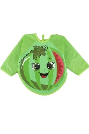 Buude Kids Unisex  Giyilebilir Karpuz Desenlik Kollu Mama Önlüğü