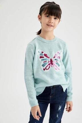DeFacto Kız Çocuk Kelebek Pul Payet İşlemeli Triko Kazak