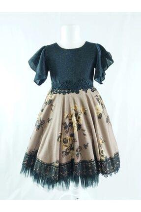 ÖFİ Kids Kız Çocuk Toprak Renk Simli Çiçek Baskılı Dantel Kemerli Elbise