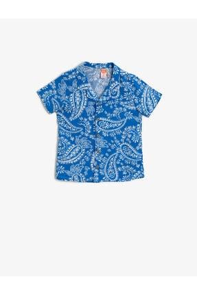 Koton Kids Erkek Çocuk Mavi Desenli Kısa Kollu Gömlek