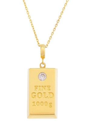 MOOM MÜCEVHERAT Kadın 14 Ayar Altın Külçe Altın Kolye