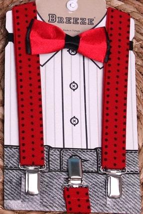 Breeze Erkek Çocuk Kırmızı Papyonlu Pantolon Askısı Puantiyeli Pantolon Askısı