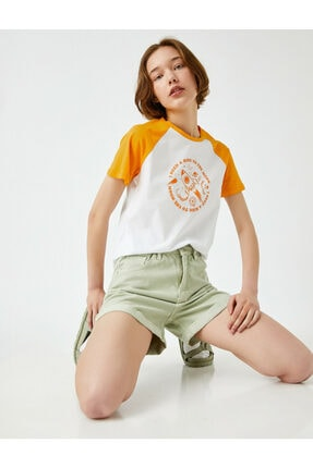 Koton Kadın Baskılı Pamuklu Renk Bloklu T-Shirt