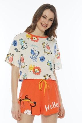 VİENETTA Pamuklu Düşük Omuzlu Kısa Kol Şortlu Pijama Takım