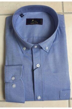 Abbate Erkek Mavi Geniş Kalıp Regular Fıt Cepli Gömlek
