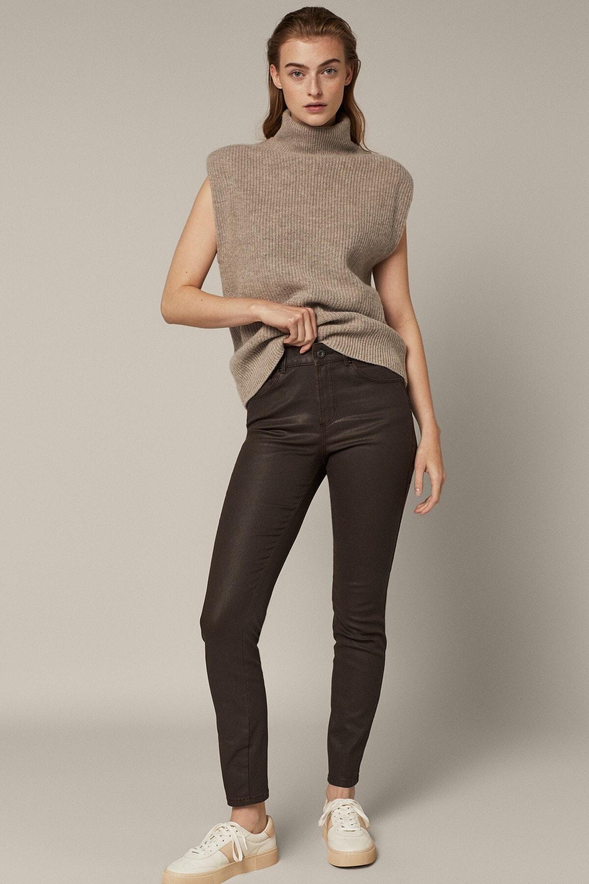 Massimo Dutti Kadın Orta Bel Mumlu Skınny Pantolon 05057657