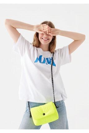 Mavi Kadın Neon Sarı Çapraz Çanta