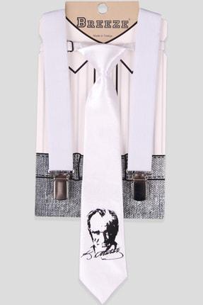 Breeze Erkek Çocuk Beyaz Kravatlı Pantolon Askısı