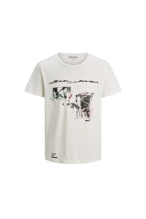 Jack & Jones Erkek Beyaz Tshirt
