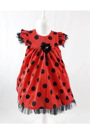ÖFİ Kids Kız Çocuk Siyah Kırmızı Puantiyeli Simli Kısa Kollu Elbise