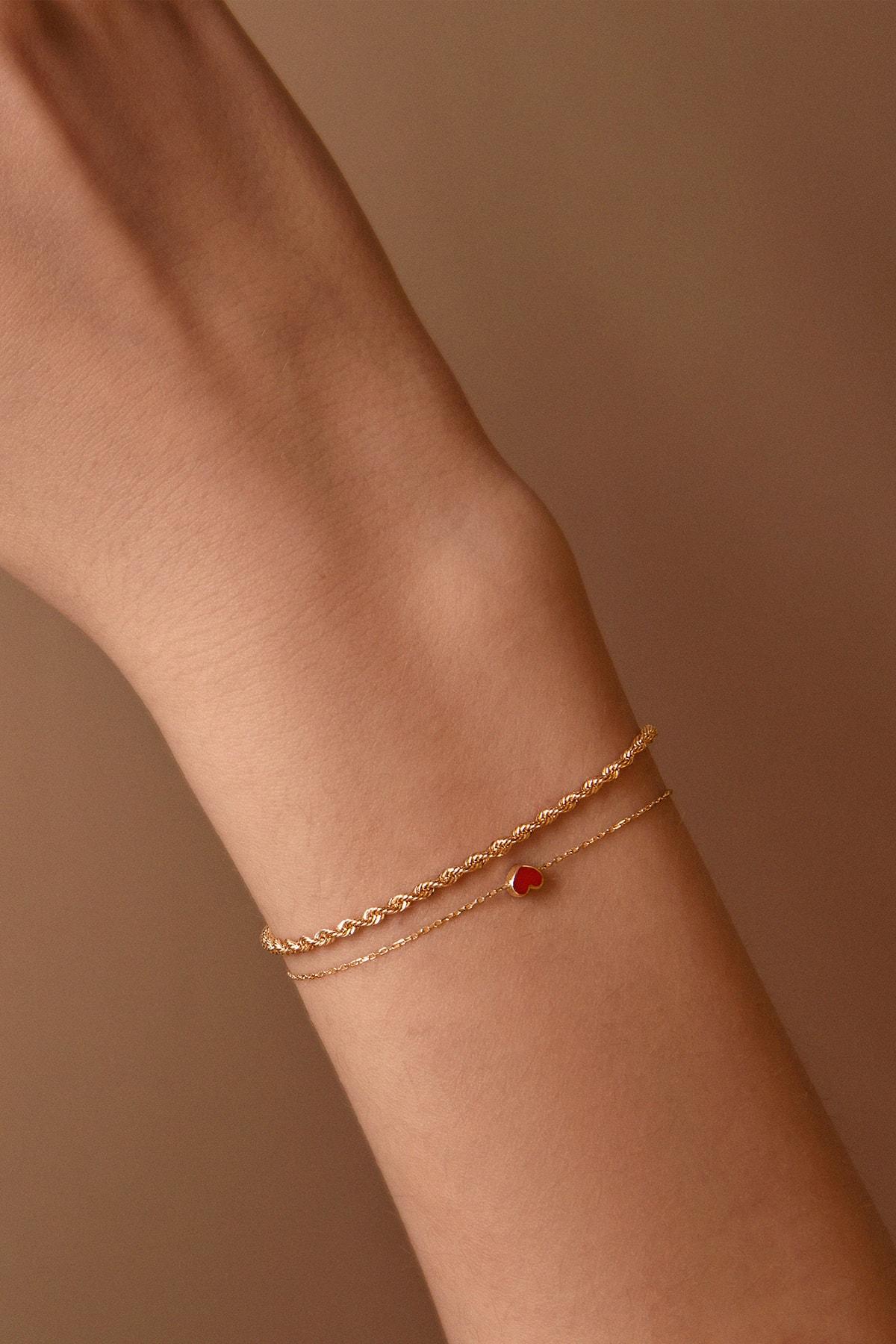 Gelin Pırlanta 14 Ayar Altın Mini Kırmızı Kalp Bileklik 2