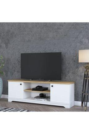Rani Mobilya Rani D3 Country Tv Ünitesi Tv Sehpası Beyaz Keçe Ceviz M1