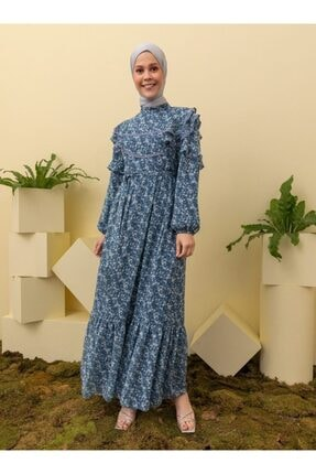 Loreen Desenli Elbise - Indigo -