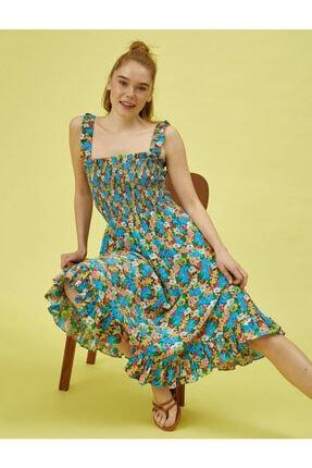 Koton Kadın Mavi Çiçekli Elbise Askili