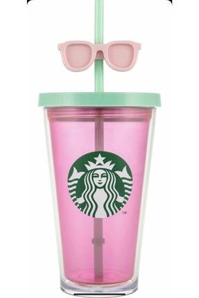 Starbucks Gözlüklü Pipetli Soğuk Içecek Termosu - Pembe Renkli 473 ml