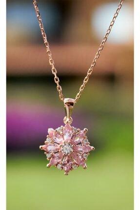 Selin Silver Kadın Pembe Lotus Çiçeği Kolye