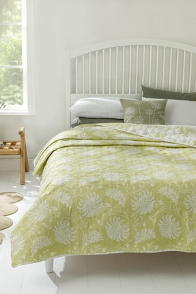 English Home Shadownoon King Size Çok Amaçlı Örtü 240x220 Cm Kivi Yeşili