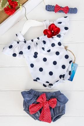 Babymod Kız Bebek Kırmızı Puantiye Desenli Bandanalı Tulum Takım