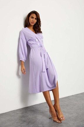 Setre Kadın Lila Kuşaklı Kruvaze Elbise