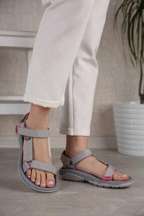 Ccway Kadın Gri Fuje Cırtlı Sandalet