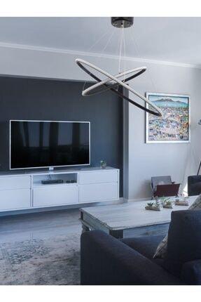 OTTOMAN LIGHTING Beyaz Işık Elips Model Ledli Avize Antrasit Renk