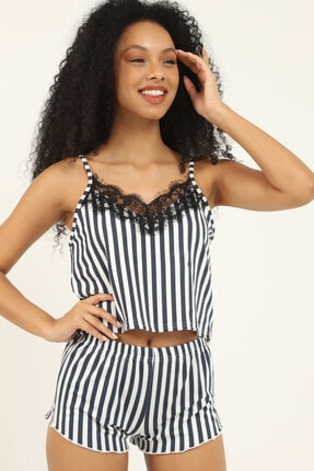 ShaperTech Kadın Askılı Pijama Büstiyer Şort Alt Üst Siyah Çizgili Takım