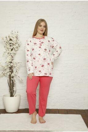 TAMPAP Kadın Büyük Beden Pijama Takımı Desenli Uzun Kollu 9116