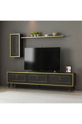 ARNETTİ Vals Tv Ünitesi Yaşam Odası, Salon, Ve Oturma Odası, Tv Sehpası Mermerdesen-gold Bant