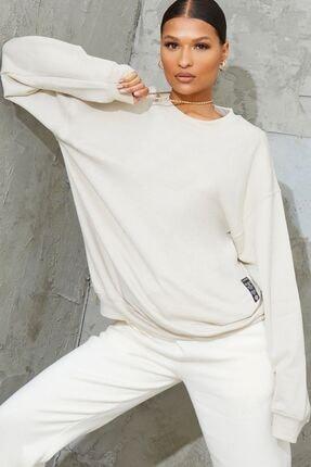 Millionaire Kadın Ekru Basic 0 Sıfır Yaka Baskısız Düz Oversize Salaş Bol Kesim Polar Sweatshirt