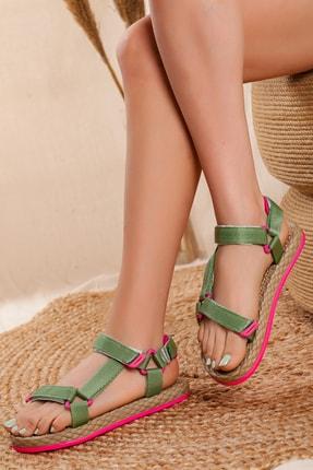 Odal Shoes Kadın Yeşil  Ortopedik Spor Sandalet
