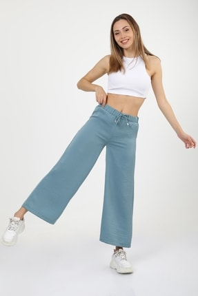 MD trend Kadın Turkuaz Bel Lastikli Bağcıklı Bol Paça Salaş Pantolon
