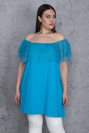 Şans Kadın Turkuaz Yakası Lastik Ve Tül Volanlı Bluz 65N24474