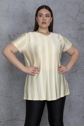 Şans Kadın Bej V Yakalı İnce Floş Viskon Çizgili Bluz 65N24446