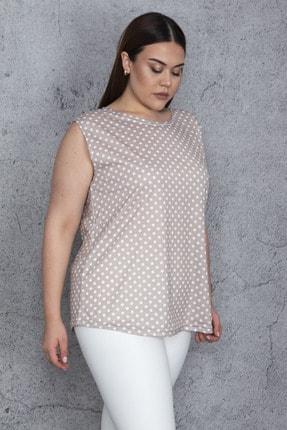 Şans Kadın Vizon Puan Desenli Bluz 65N23052