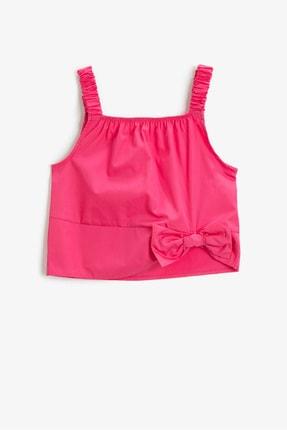 Koton Kids Çocuk Pembe  Kurdele Detayli Askili Pamuklu Bluz