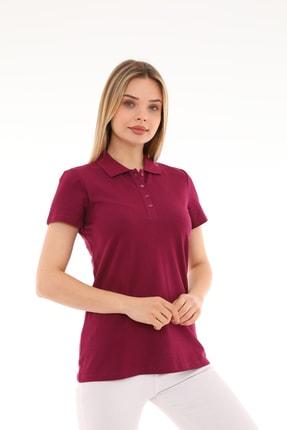 ZERE Kadın Bordo Polo Yaka Tişört
