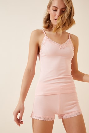 Happiness İst. Kadın Pembe Dantelli Pamuklu Atlet Şort Pijama Takımı CE00034